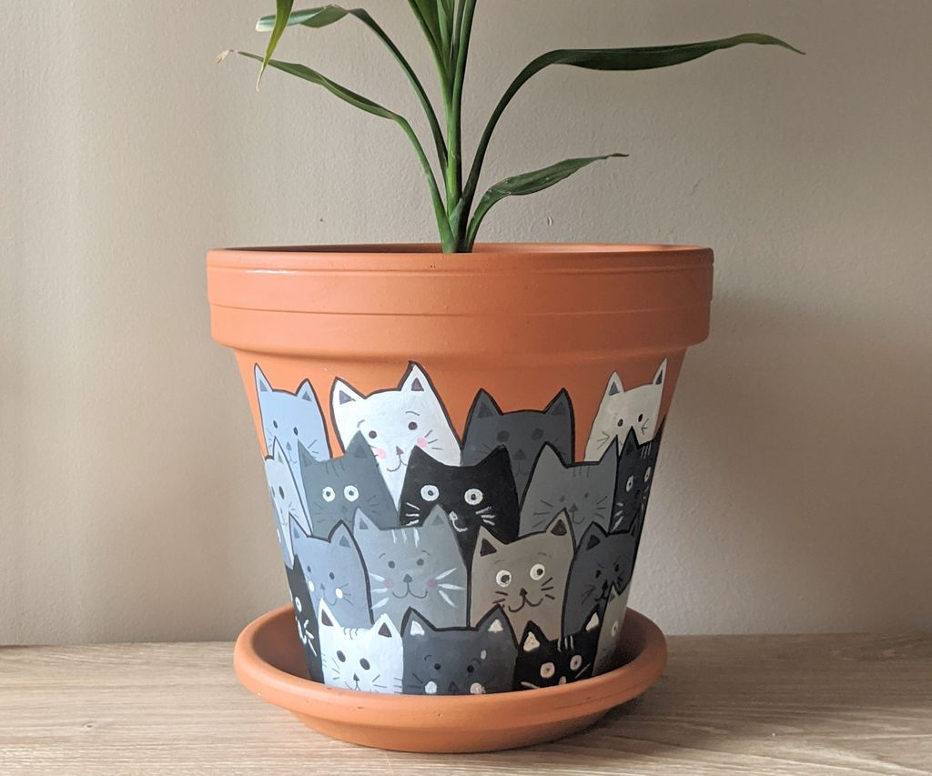 Painted Cats Terracotta Flower Pot Painted Pots Diy Decorated Flower Pots Painted Flower Pots