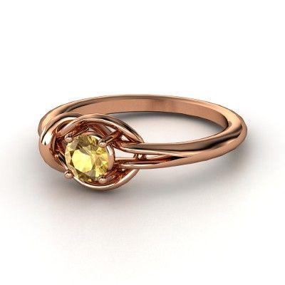 Round Citrine 14K Rose Gold Ring - Hercules Knot Ring   Gemvara