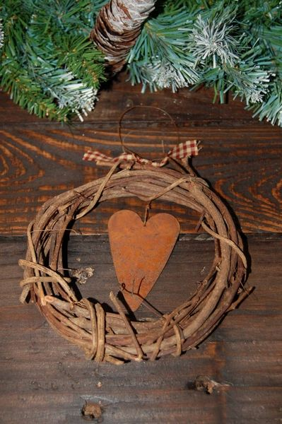 country shabby christmas grapevine wreath containing a hanging rusty
