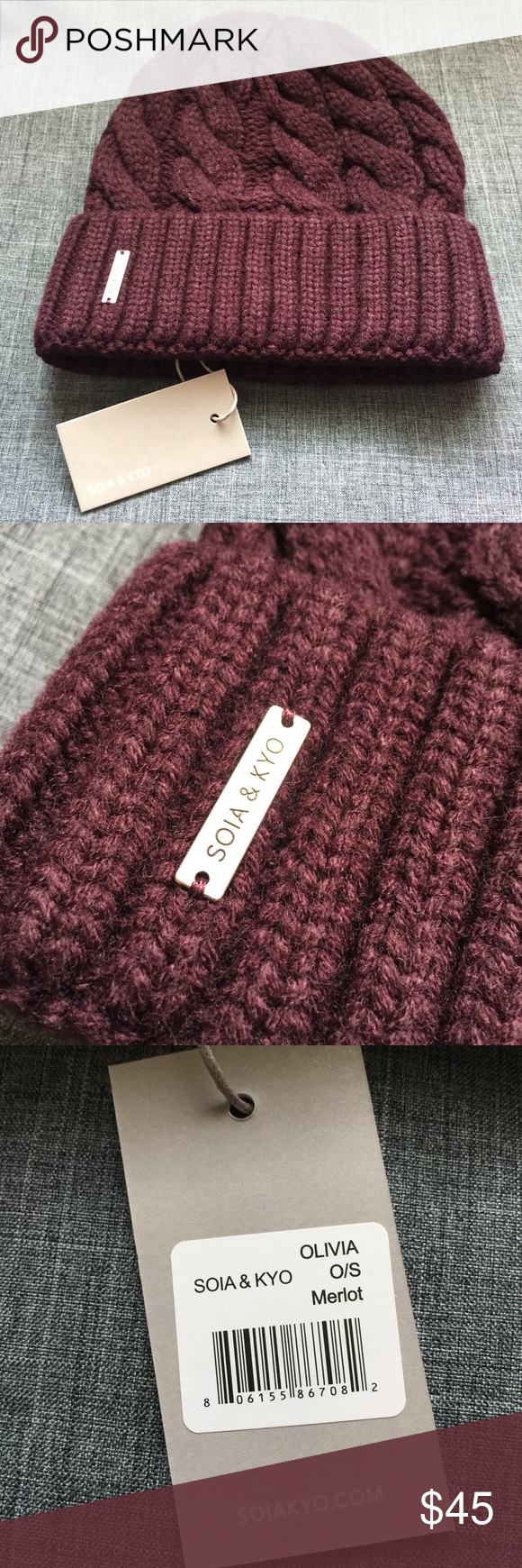 SOIA & KYO Knit Hat in Merlot Beautiful deep burgundy knit beanie by SOIA & Kyo. Brand new, with tags, excellent condition. Smoke/Pet free home. Soia & Kyo Accessories Hats