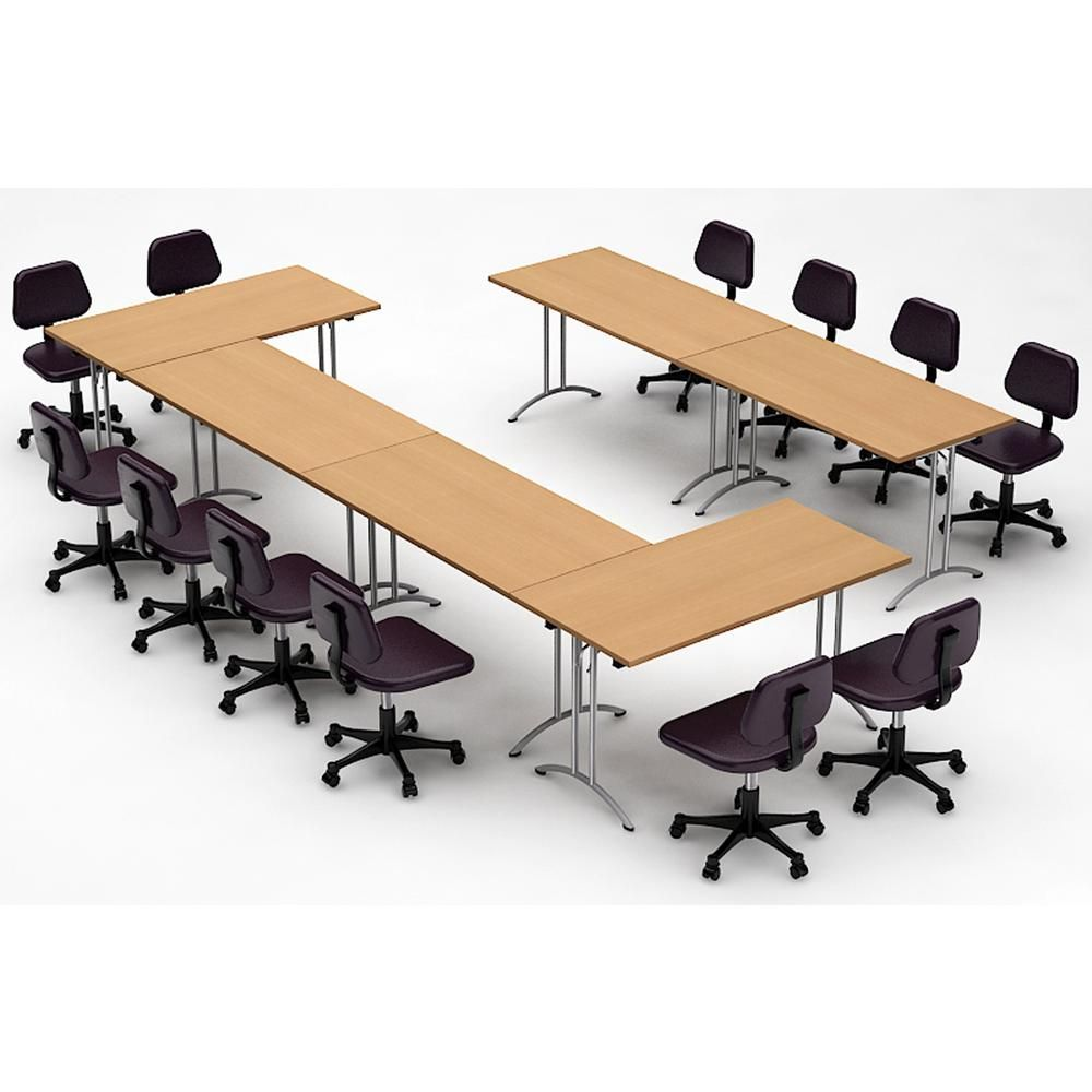 TeamWORK Tables 39-Piece Natural Beech Conference Tables Meeting
