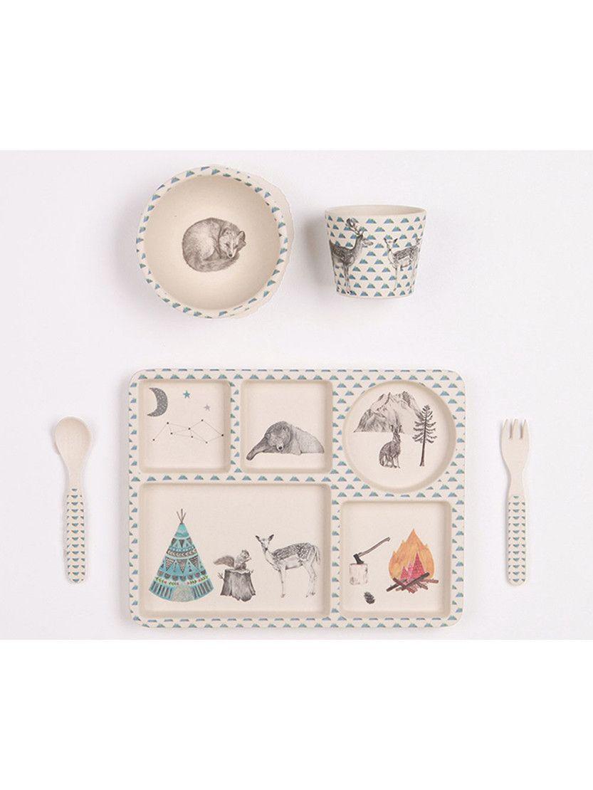 Bobo/&Boo Bamboo 5 Piece Children/'s Dinnerware Christmas /& Preschool Graduations /… Non Toxic Kids Mealtime Set for Healthy Infant Feeding Monochrome Great Gift for Birthdays