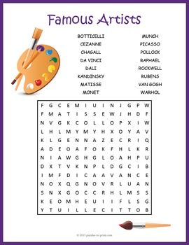 Famous Artists Word Search With Images Famous Artists For Kids