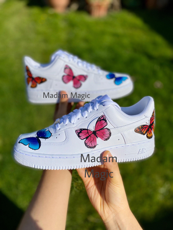 Hand Painted Custom Nike Air Force 1 Low Triple Blue Pink