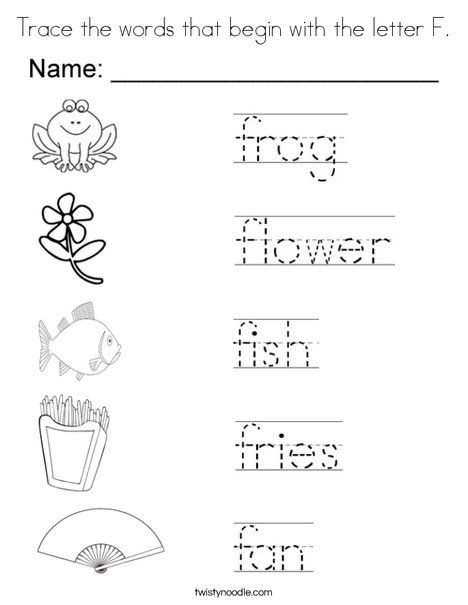Trace The Words That Begin With Letter F Coloring Page
