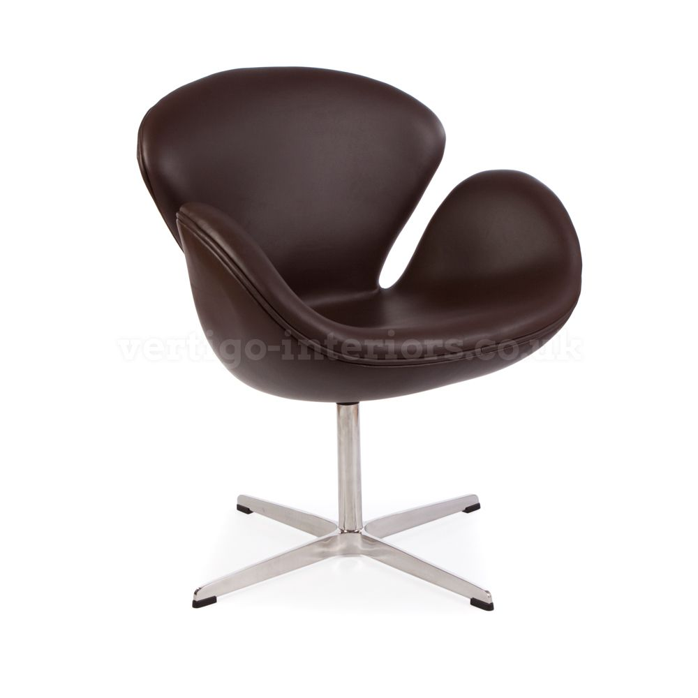 Brown Leather Swan Chair - Inspired By Designs of Arne Jacobsen | Vertigo Interiors