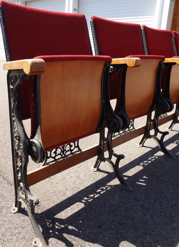 Vintage Theater Seats. Row of 6 circa 1890, cast iron and