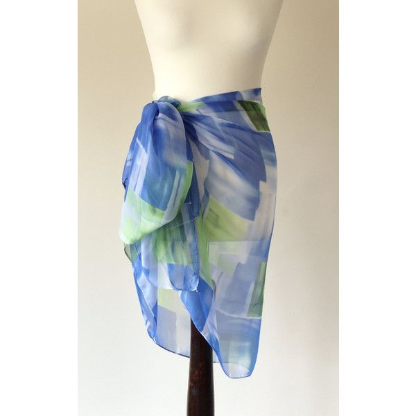 Spring Summer Scarf Blue Green Lightweight Pareo Geometric Scarf Silky... ($25) ❤ liked on Polyvore featuring accessories, scarves, grey, women's clothing, lightweight scarves, blue scarves, green scarves, gray shawl and patterned scarves