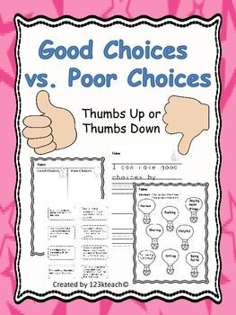Good Choices vs. Poor Choices~Thumbs Up, Thumbs Down ...