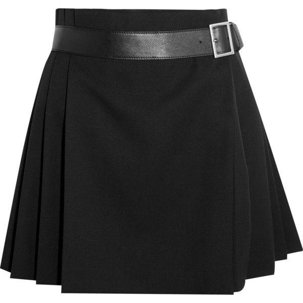 ALEXANDER MCQUEEN Pleated grain de poudre wool wrap mini skirt ($795) ❤  liked on