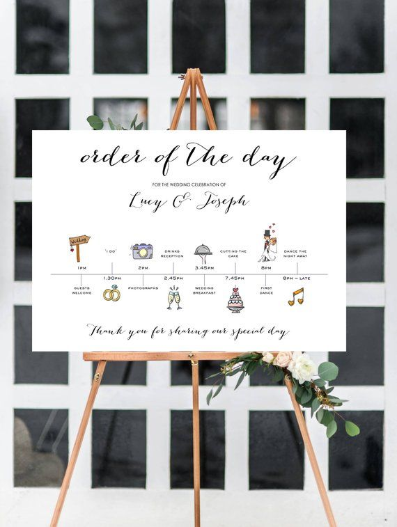 Personalised A3 Wedding Time line/Order of Day Guest | Etsy