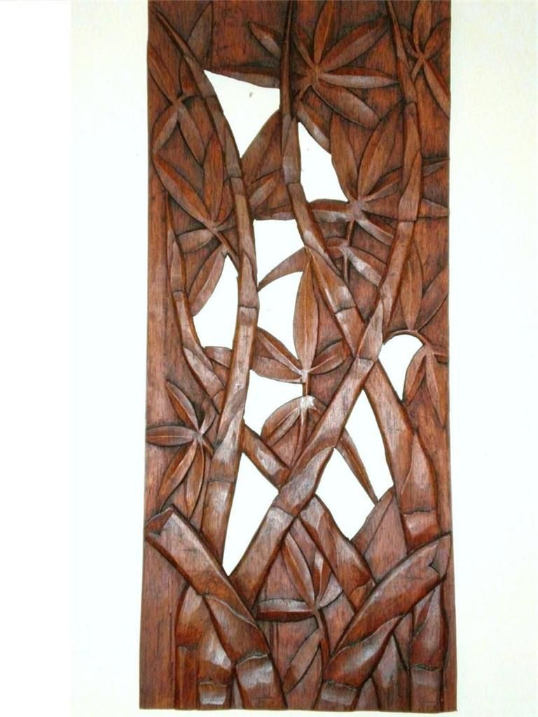 Bamboo leaves wall art panel hanging hard wood carving