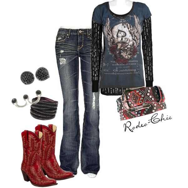 Lady Luck by rodeo-chic on Polyvore - Red Cowboy Boots <3