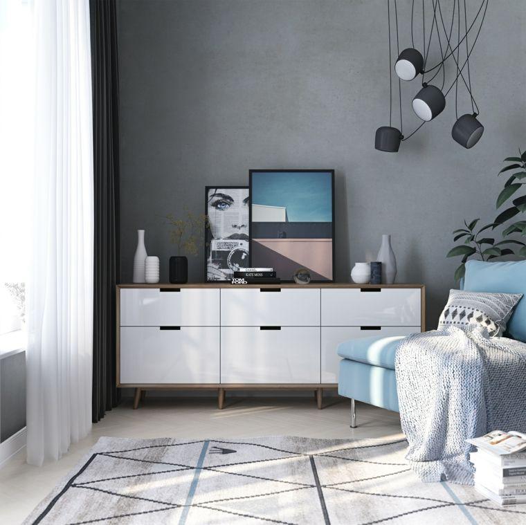 Pared de color gris sala de estar pinterest colores for Muebles grises paredes color