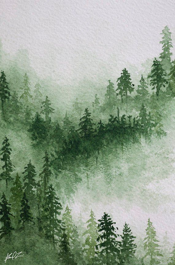 Misty forest watercolor print. Gallery wrapped canvas print of wintry green and white foggy m...