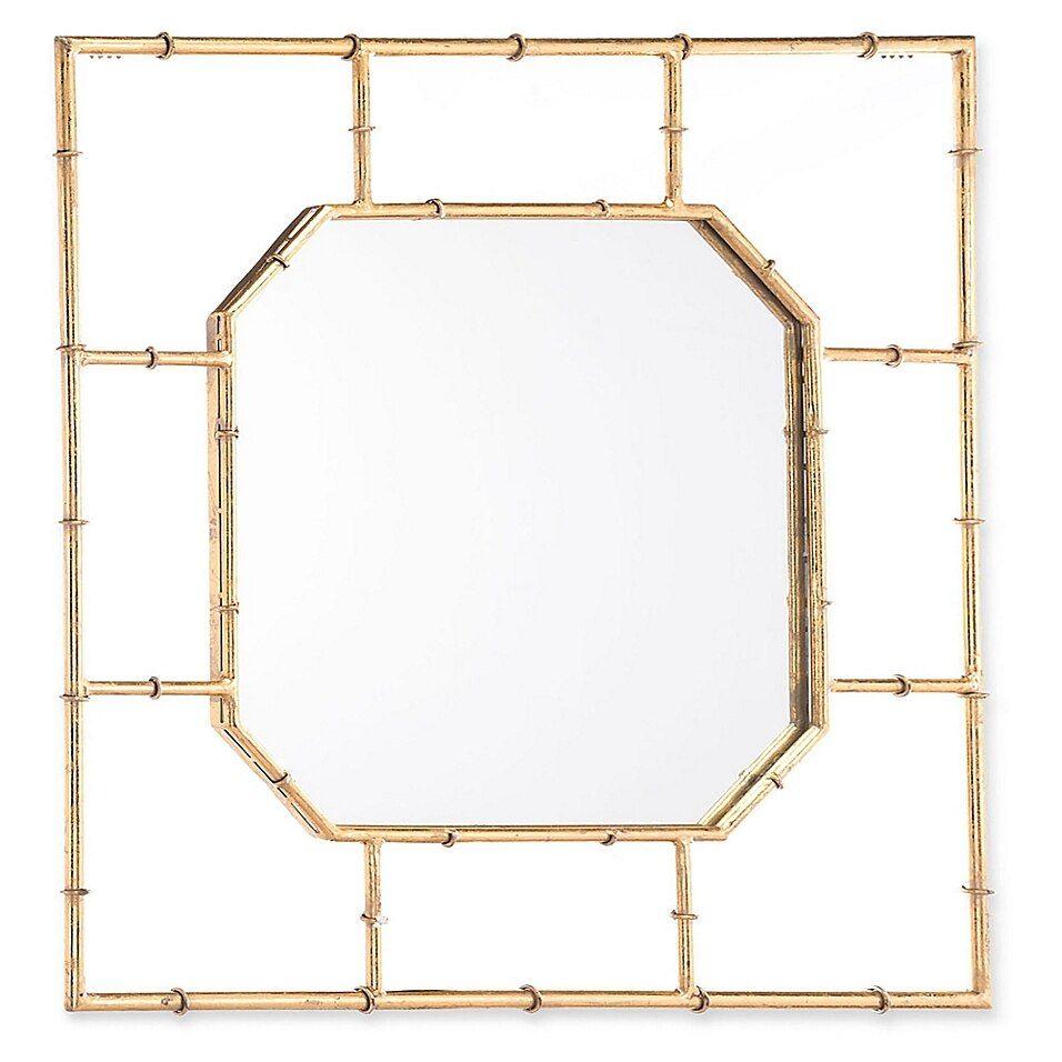 Zuo Modern Square Bamboo Style Mirror In Gold Meisjeskamer