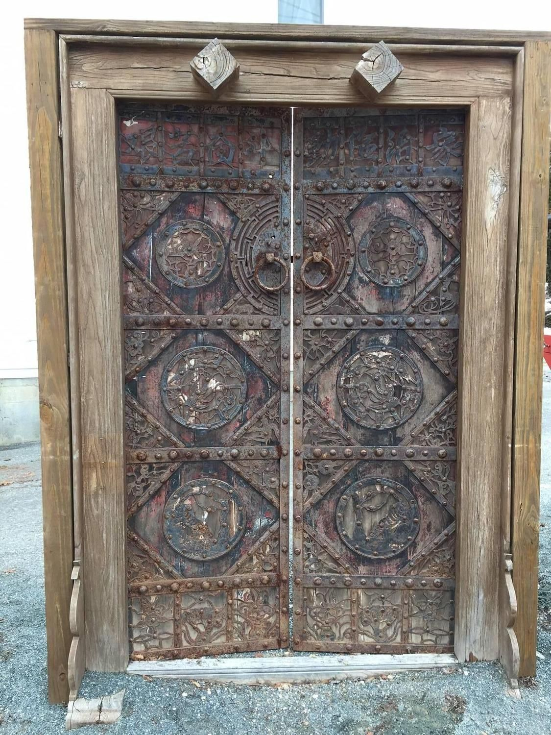 China Finest Antique Hand Carved Birds and flowers Garden Doors, 19th  Century - China Finest Antique Garden Doors 19 Century Doors And Gates
