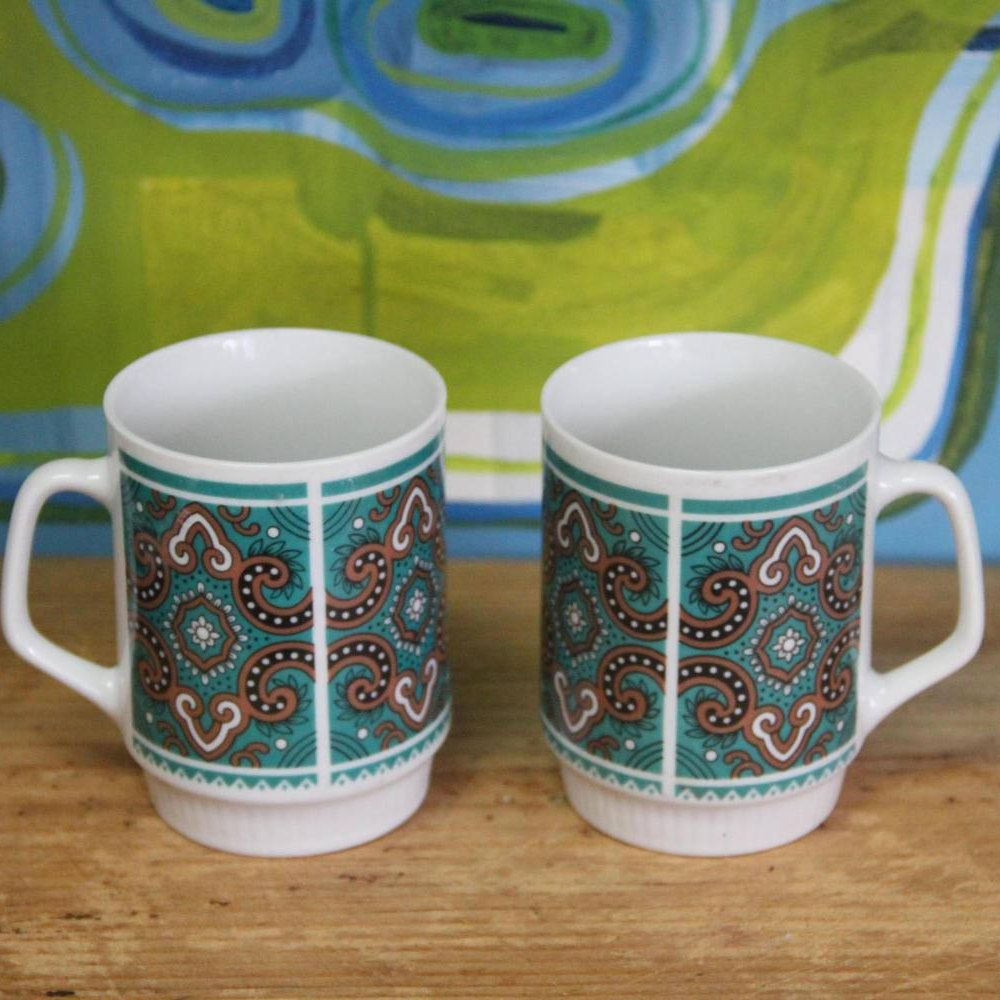 Vintage 1960's  Mugs (set of 2) by VintageCollateral on Etsy