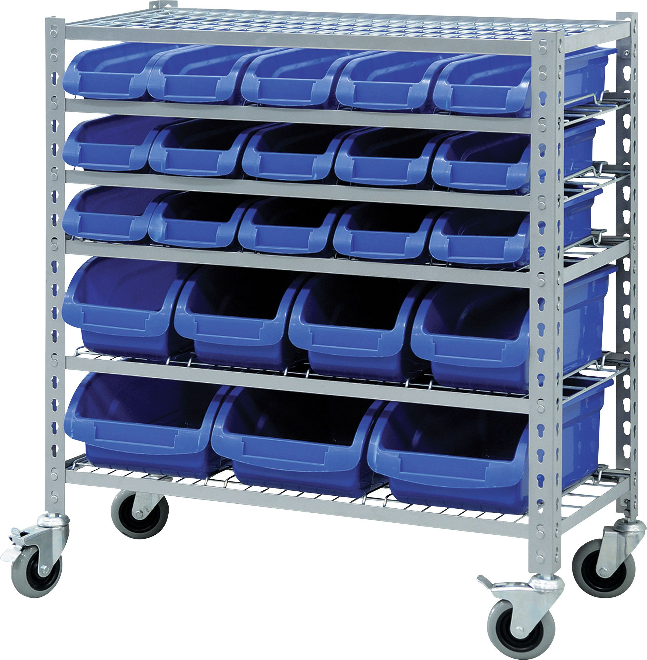 Racking Solutions Multipurpose 6 Tier Mobile Storage Unit Complete with 22 Bins.