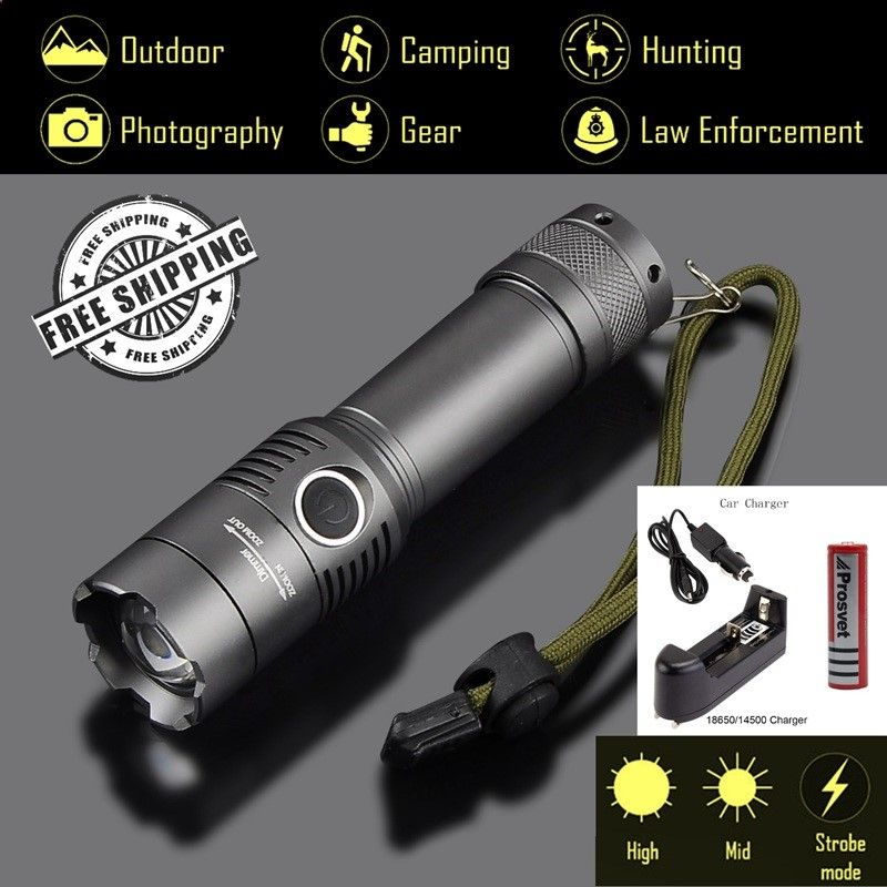 Explorer-BC 3 Modes Tactical Powerful LED Flashlight 3800Lm CREE XM-L T6, Torch light 1x18650 Rechargeable Battery,Car charger #Affiliate