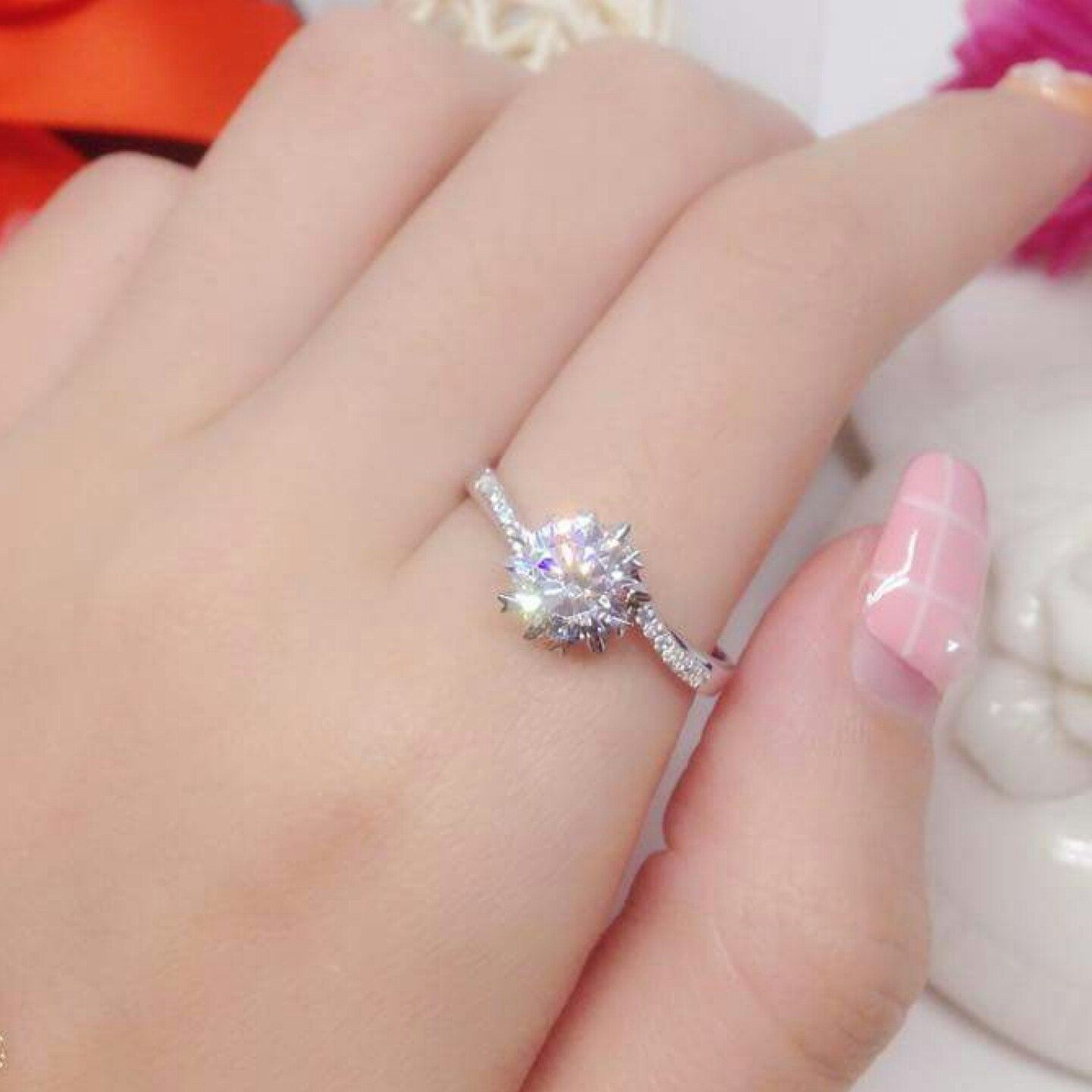 1 Carat Snowflakes Engagement Ring / Promise Ring/ Winter Wedding ...