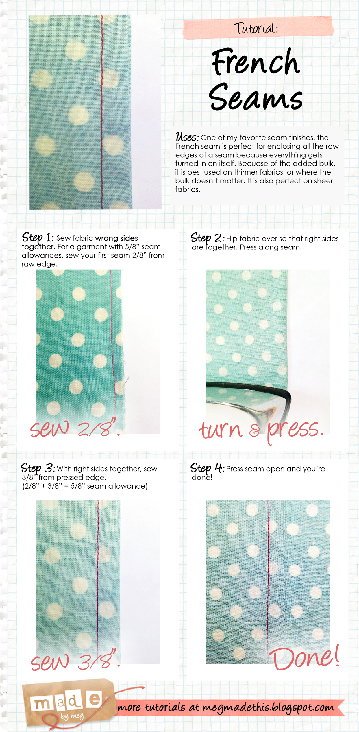 Made By Meg French Seams Tutorial