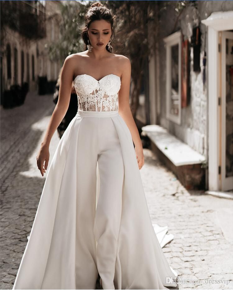 2020 inbal dror beach wedding jumpsuits with detachable