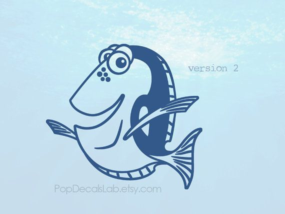 Finding dory vinyl decal dory fish wall decal car decal macbook decal laptop sticker made in usa popdecalslab
