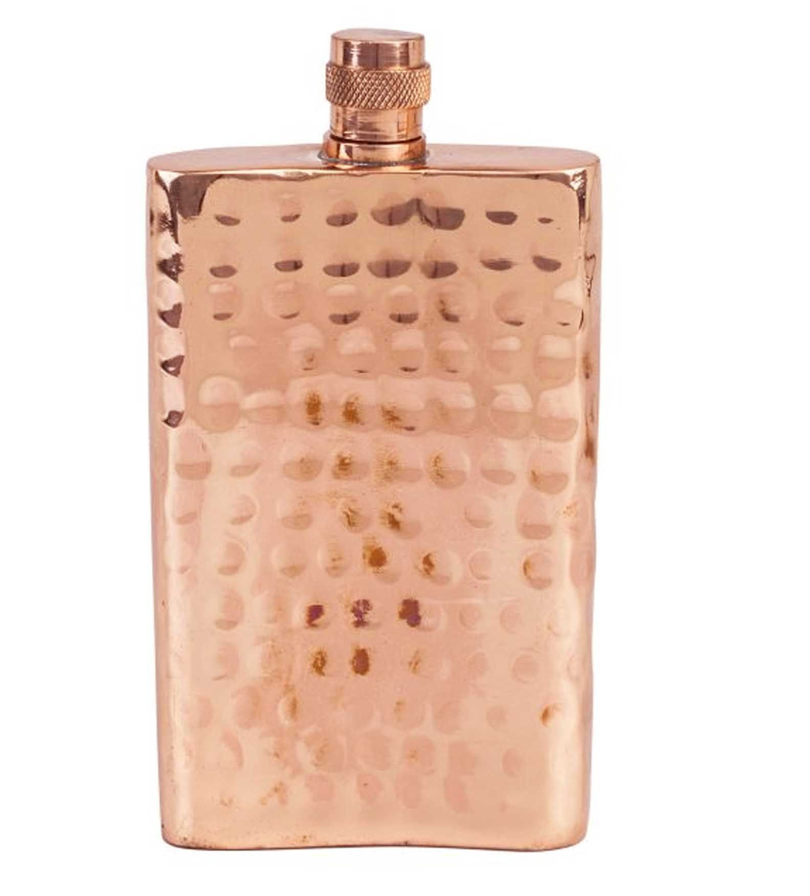 Classic 100% Solid Hammered Copper Flask