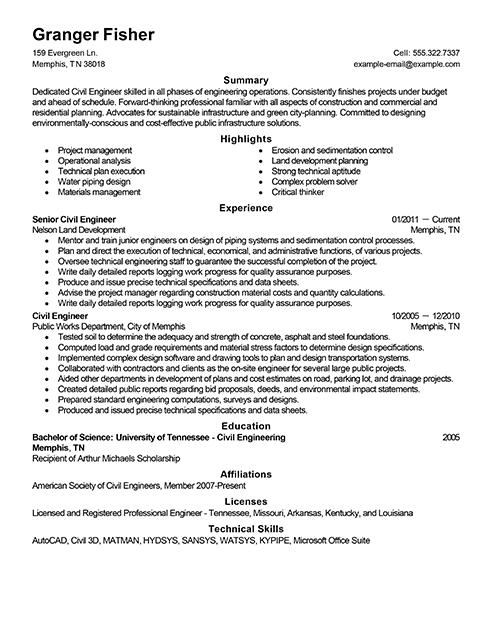 Civil Engineer Resume Examples Engineering Sample Resumes Livecareer Engineering Resume Civil Engineer Resume Engineering Resume Templates