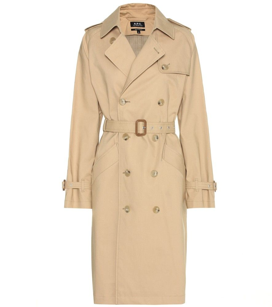 A.P.C. - Julianne cotton trenchcoat - Opt for timeless elegance with a contemporary twist with this sand-hued cotton trenchcoat. The slightly oversized style from A.P.C. is best worn with blue denim and crisp white sneakers. seen @ www.mytheresa.com