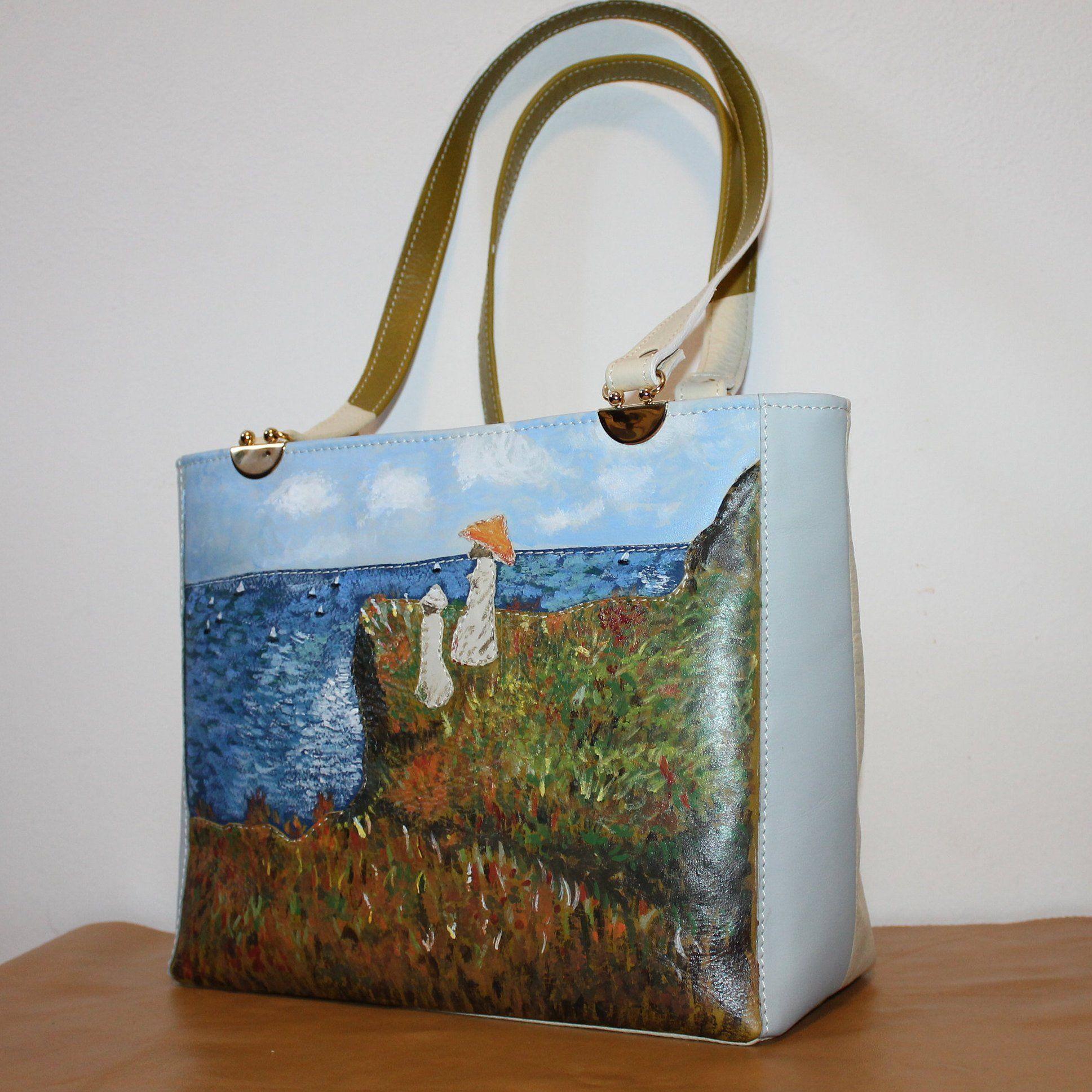 super economico vasta selezione immagini dettagliate Leather bag Monet, Blue green leather tote bag for women, Italian ...