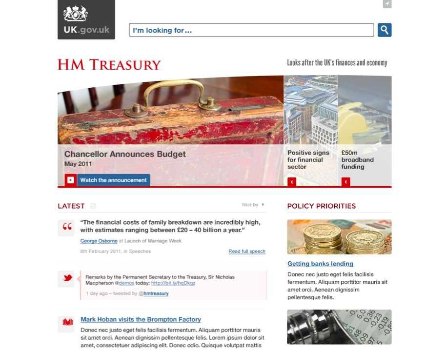 early (alphastage) gov.uk institutional landing page