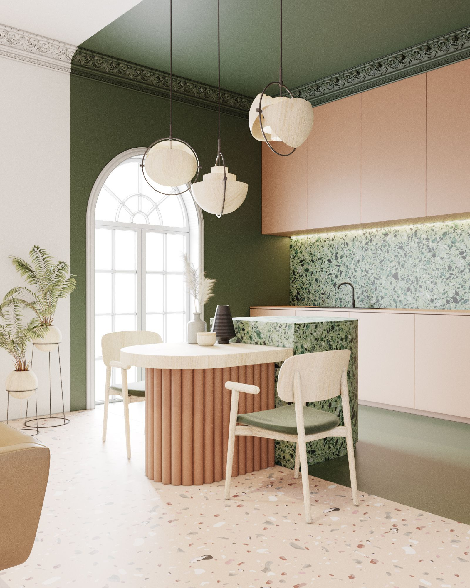 Terrazzo Flat Interior Design Green Peach Kitchen Studio 04 Kitchen Interior Art Deco Interior Design Art Deco Kitchen