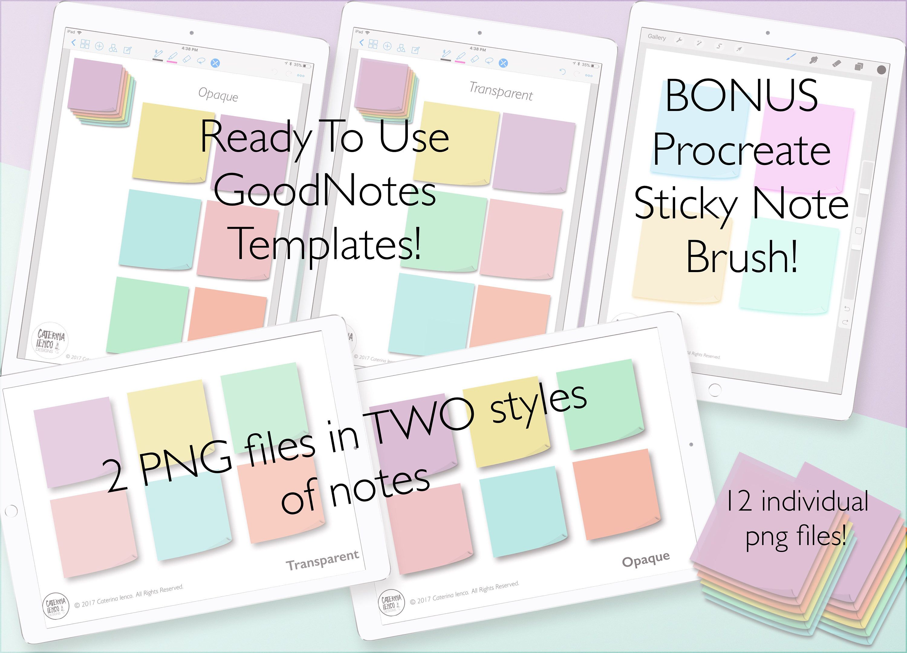 Digital Sticky Notes/Sticker Pack - Transparent and Opaque PNG - 6 ...