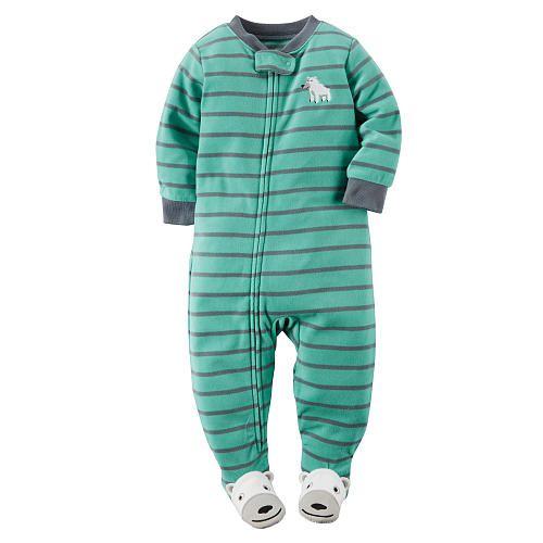Carter's Boys Blue/Grey Striped Zip Up Fleece Footed Blanket ...