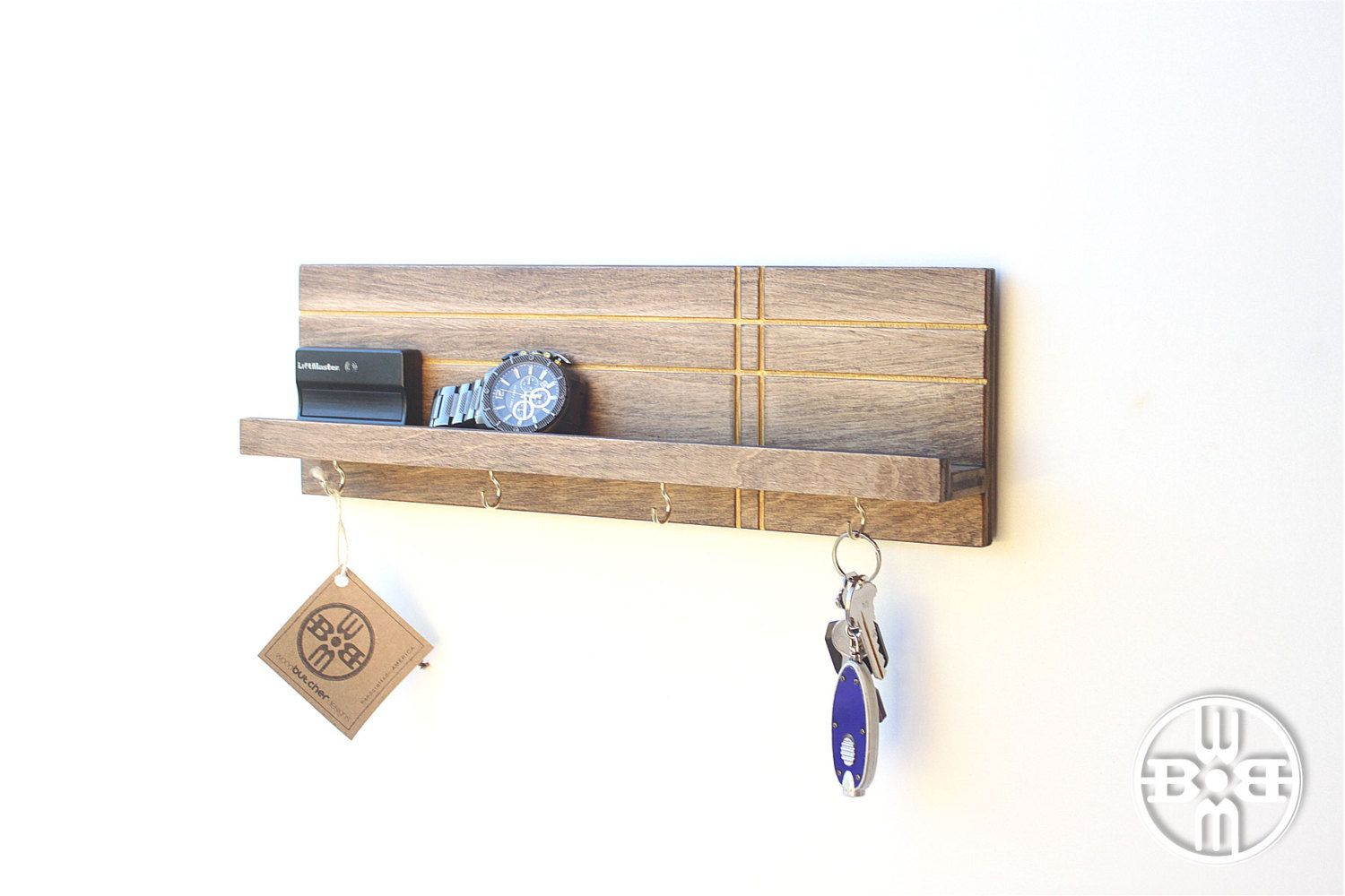 Geo Modern Shelf w/Hooks - key hook, entryway organizer, key organizer,