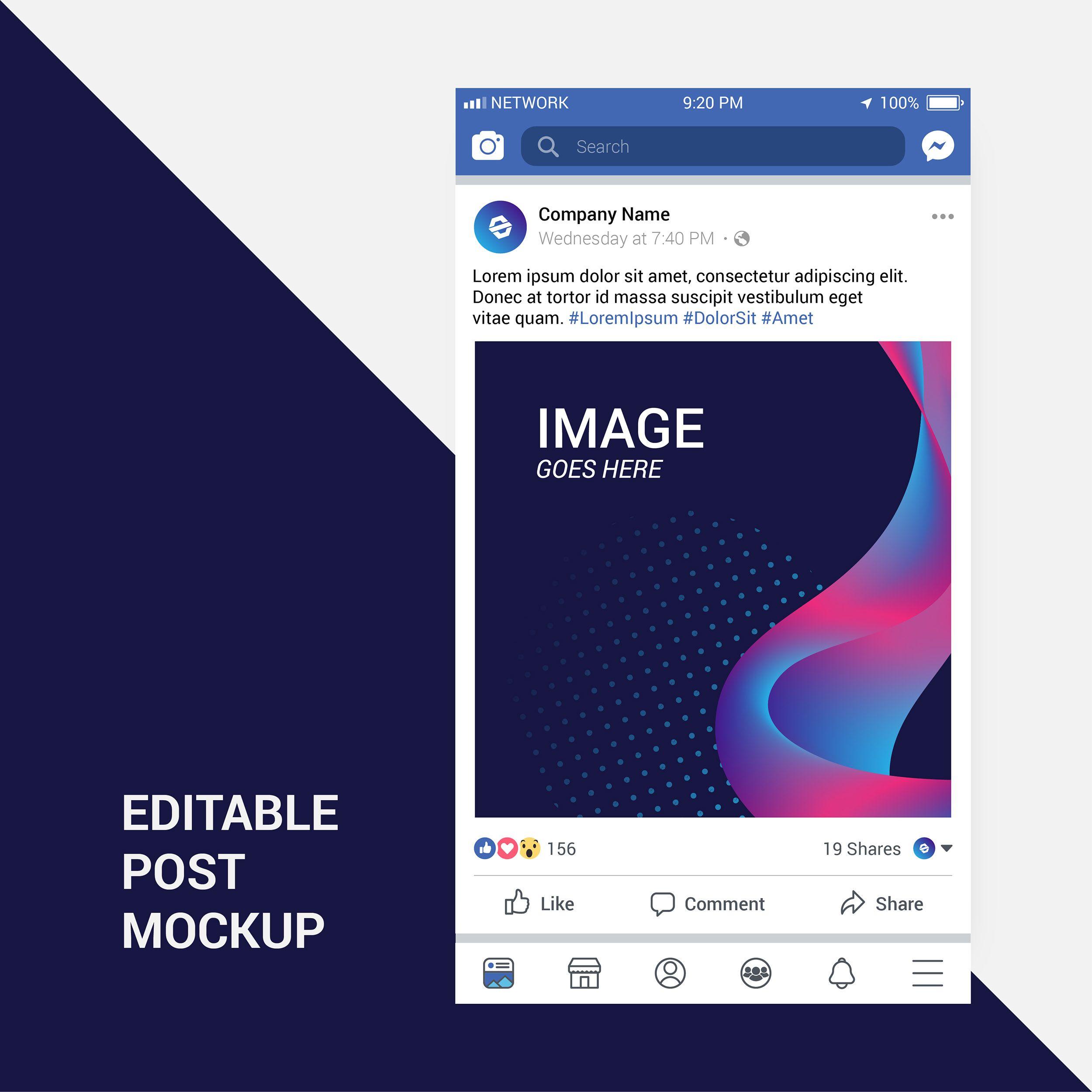 Facebook Post Mockup in 2020 Facebook post mockup