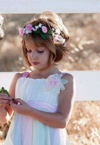 flower girl hair wreath pink bridal