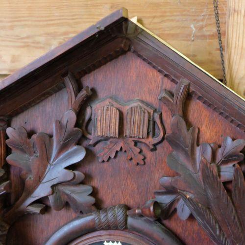 Vintage Huge Black Forest Cuckoo Clock Bird Wood Carving For Parts