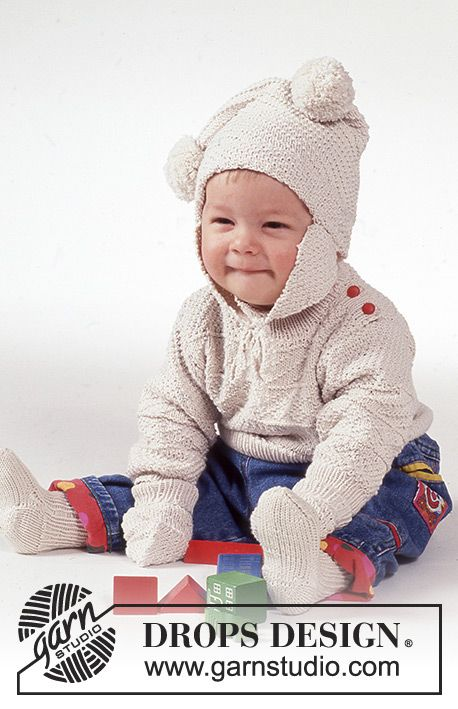 Winter Bunny / DROPS Baby 1-2 - DROPS Aran sweater, hat with pompoms ...