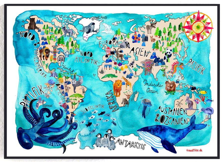 Weltkarte *Tiere* als Poster fürs Kinderzimmer