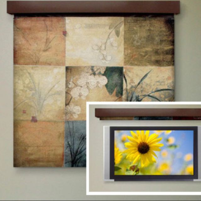 Hide Your Flatscreen Behind A Tapestry Or Other Roll Up Piece Of