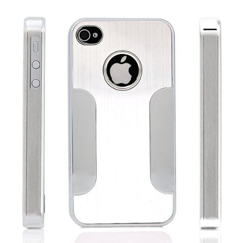 Premium Chrome Aluminum Skin Hard Back Case Cover for Apple iPhone 4 4G 4S Silver