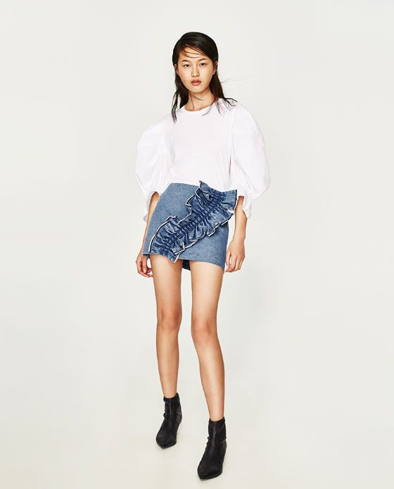 a02af98366 Image 1 of FRILLED DENIM MINI SKIRT from Zara | Clothes | Mini ...