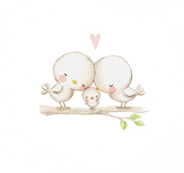 We're in #love with Aida Zamora's beautiful illustrations! #birds #family