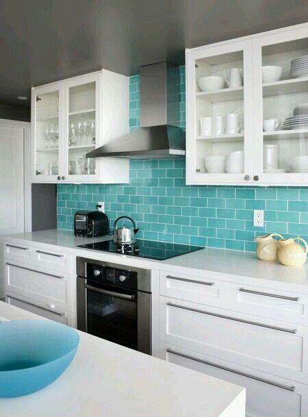 Cocina Blanca Con Turquesa Cocinas Azulejos Cocina Turquesa