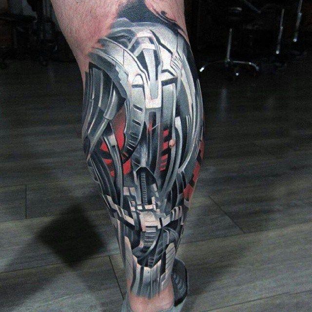 robo armor biomechanical tattoo on leg mechanik. Black Bedroom Furniture Sets. Home Design Ideas