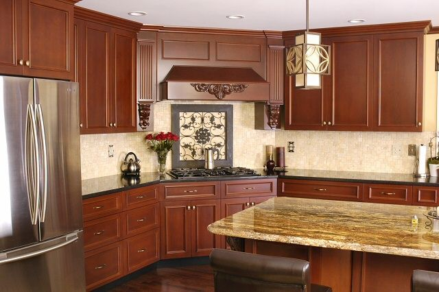 Great Kitchen Stove Surround Cabinets | Detailed Wood Cooktop Vent Hood