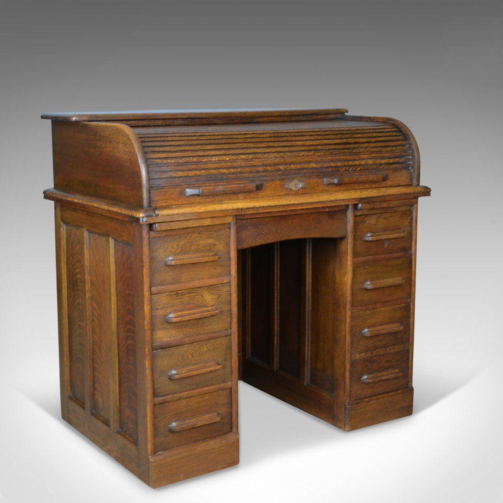 Small Antique Roll Top Desk Oak Tambour William Angus And Co Ltd London C1910 Roll Top Desk Tambour Antiques